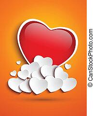 coeur, nuages, fond, mère,  orange, jour