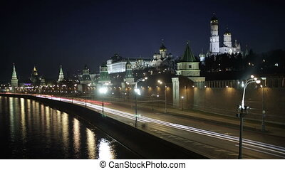 Quay near the Moscow Kremlin. Night time lapse with motion...