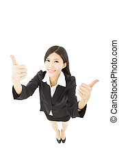 young happy business woman with thumb up