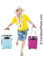 young man enjoy summer vacation with travel suitcase