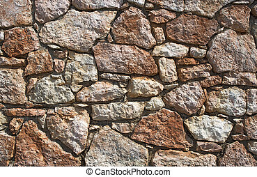 Stone Wall Background - An old brown stone wall makes an...