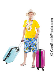 happy young man enjoy summer vacation with travel suitcase