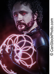 Man with blue neon lights, the future warrior costume, fantasy soldier, red neon