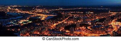 Vilnius city night aerial view - Lithuanian capital by bird...