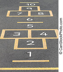 Hopscotch on playground - Hopscotch game painted on a school...