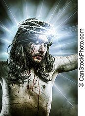 calvary jesus, man bleeding, representation of passion with...