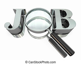 Job search Text with loupe on white background 3d