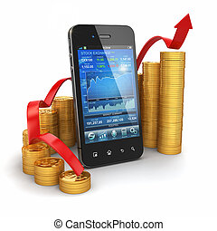 Stock exchange application on mobile and graph from coins