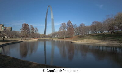St Louis Arch Gateway Park - Timelapse St Louis Arch with a...