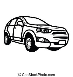 Car SUV - Hand drawn - The abstract of Car SUV - Hand drawn