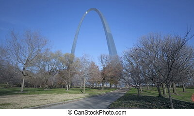 St Louis Arch Gateway Park - Timelapse St Louis Arch with...