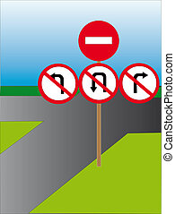 Worlds end - Traffic signs which forbid movement in the...