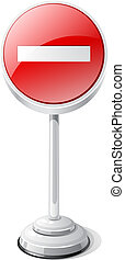 No entry road traffic sign isolated on white.