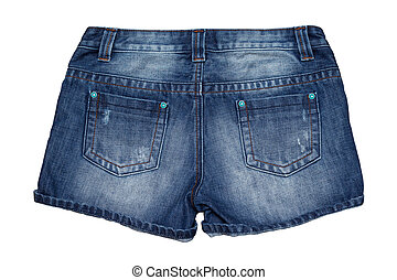 Jean short pants isolate white background