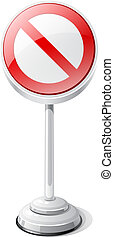 Red forbidden road traffic sign isolated on white.