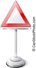 Warning road traffic sign isolated on white