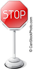 Stop road traffic sign isolated on white