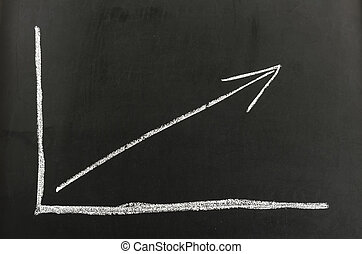 Growing graph - Chalkboard with growing financial graph...