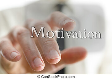 Motivation icon - Businessman hand pointing at motivation...