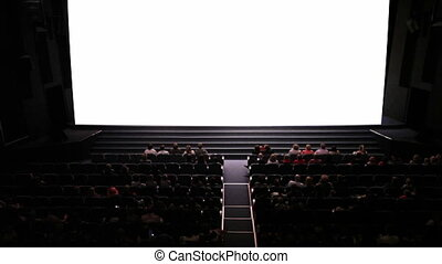 Empty screen in cinema. Wide shot. Ready to add your video.