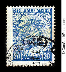 cattle breeding - ARGENTINA - CIRCA 1936: a stamp printed in...