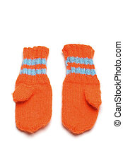 Childrens mittens - 1 pairs childrens knitted mittens on a...