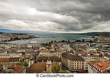 aerial view of city of Geneva