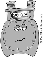 Sad gas meter - This illustration depicts a gas meter with a...