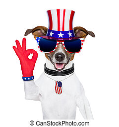 usa american dog - pride american dog with red ok fingers