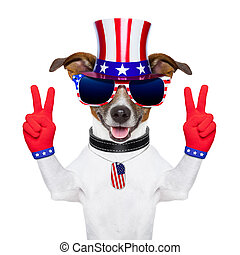usa american dog - american peace and victory fingers dog...