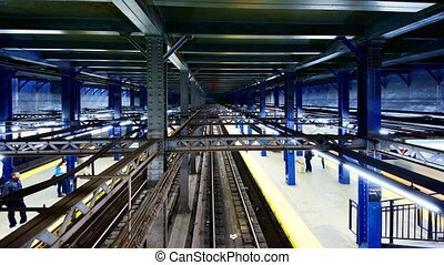 New York City Subway Station - Trains at Chambers St Station...