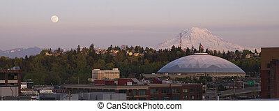 Moon Rise over City Skyline Tacoma Washington United States...