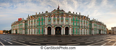 Winter Palace in Saint Petersburg - Panorama of Winter...