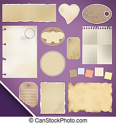 rasgado, papel,  scrapbooking,  set:
