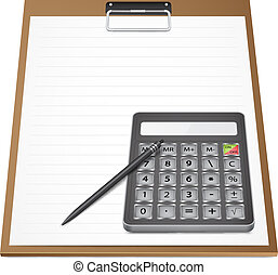 Calculator with pen on paper
