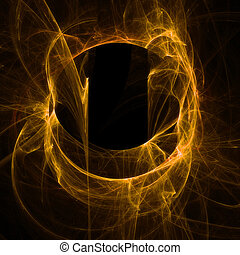Abstract smoky neon  - Orange flame on black background