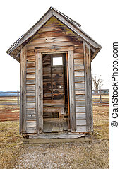 Old outhouse in the country - Only single seat outhouse in...