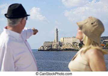 Tourism and active retirement with elderly people traveling,...