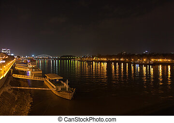 Barge and night lights on the Dunai river - Barge and night...