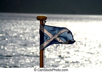 "\""Scotland\\\"" - Scottish flag on front of ferry"