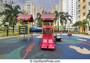 Rubber Ducky Theme Children Playground with Red Slides in...