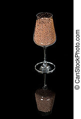 Wine Glass filled with gun ammunition - BB filled wine glass