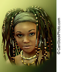 Caribbean Girl - 3d Rendering Computer Graphics Portrait of...