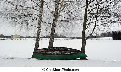 boat winter tree lake - wooden row boat stand upside down...