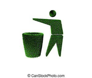 trash can and man - logo of trash can and man with grass