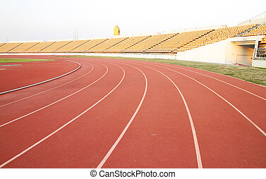 running track rubber standard red color in aports stadium
