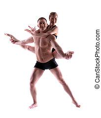 två, ung,  studio, akrobater, Framställ, Le