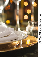 elegante, cena, regolazione