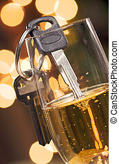 Dont Drink and Drive - Keys and Champagne in Holiday...