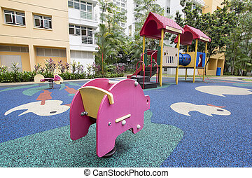 Rocking Pig at Children Playground - Rocking Pink Pig at...